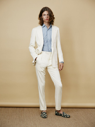 How to wear: white suit, light blue long sleeve shirt, teal suede loafers