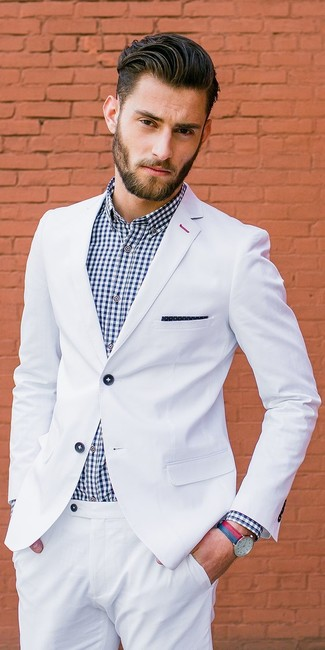 How to wear: white suit, white and navy gingham dress shirt, navy and white polka dot pocket square, red and navy leather watch