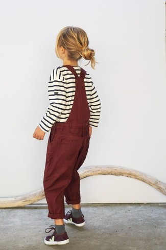 How to wear: white horizontal striped sweater, burgundy overalls, burgundy sneakers, grey socks