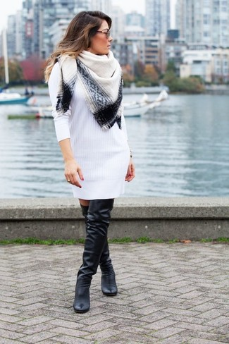 How to wear: white sweater dress, black leather over the knee boots, white and black scarf