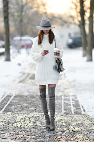 How to wear: white sweater dress, grey suede over the knee boots, grey leather satchel bag, grey wool hat