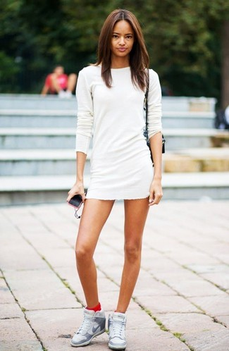 Women's White Sweater Dress, Grey Leather Wedge Sneakers, Black Leather Crossbody Bag, Red Socks