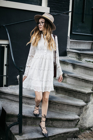 Beige Wool Hat Outfits For Women: A white lace swing dress and a beige wool hat are a nice ensemble to add to your casual styling routine. Wondering how to finish off? Complement this look with a pair of black leather ballerina shoes to rev up the fashion factor.