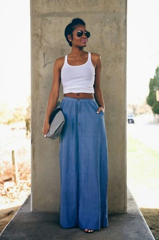 How to wear: white tank, blue maxi skirt, grey suede clutch, black sunglasses