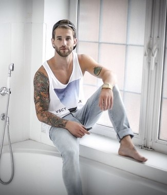 How to Wear a White Print Tank For Men: Why not try teaming a white print tank with grey skinny jeans? As well as very practical, both of these pieces look nice worn together.