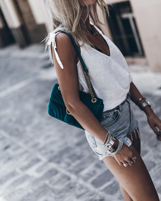 Opt for a white tank and River Island Light Blue Wash Distressed Ruby Denim Shorts, if you feel like comfort dressing without looking like a slob. Bet you could wear a variation of this getup throughout the summer season.