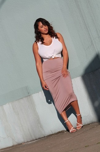 Women's White Tank, Pink Midi Skirt, White Leather Heeled Sandals ...