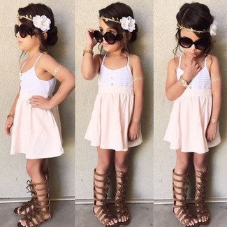 How to wear: white tank top, pink skirt, dark brown sandals