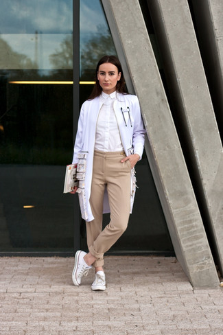 Choose a white trenchcoat and Dockers Misses Metro Trouser for a seriously stylish look. For footwear go down the casual route with white low top sneakers. The much awaited spring calls for cool combinations just like this one.