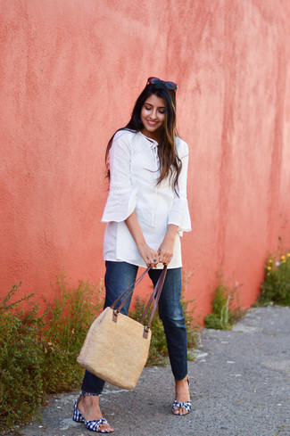 How to wear: white tunic, navy jeans, navy and white gingham canvas heeled sandals, tan straw tote bag