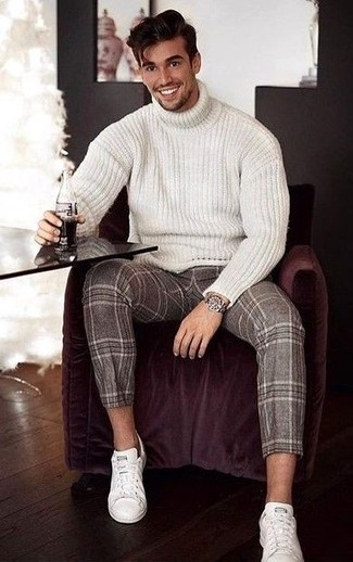 Men's White Knit Wool Turtleneck, Brown Plaid Wool Dress Pants, White Leather Low Top Sneakers, Silver Watch
