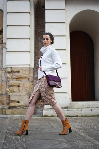 How to wear: white turtleneck, gold pencil skirt, tobacco suede ankle boots, purple leather crossbody bag