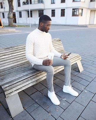 How to wear: white knit turtleneck, grey check dress pants, white leather low top sneakers, white socks
