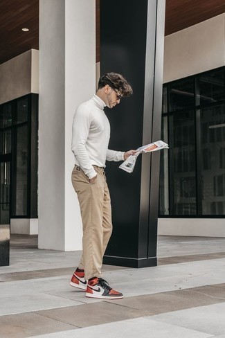 Black Sunglasses Outfits For Men: Reach for a white turtleneck and black sunglasses and you'll be prepared for whatever this day throws at you. For a sleeker twist, why not finish off with multi colored leather high top sneakers?