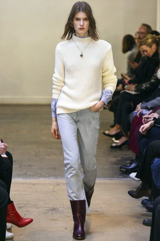 How to wear: white knit wool turtleneck, light blue dress shirt, light blue jeans, burgundy leather ankle boots