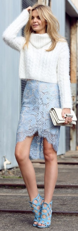 How to Wear Light Blue Suede Heeled Sandals: You'll be surprised at how easy it is to throw together this look. Just a white knit turtleneck and a light blue lace pencil skirt. A pair of light blue suede heeled sandals serves as the glue that ties this look together.