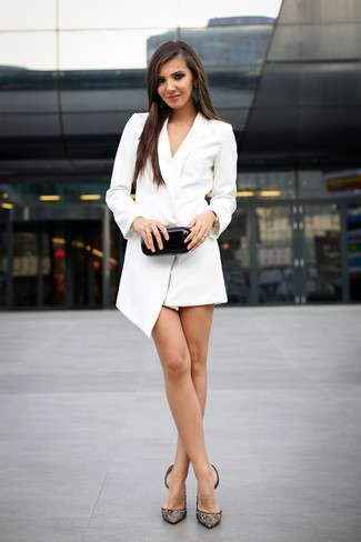 How to wear: white tuxedo dress, black lace pumps, black leather clutch