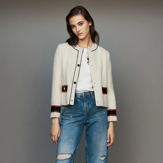 How to wear: white tweed jacket, white embroidered crew-neck t-shirt, blue ripped jeans