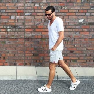 Men's White V-neck T-shirt, White Denim Shorts, White Low Top Sneakers, Dark Brown Sunglasses