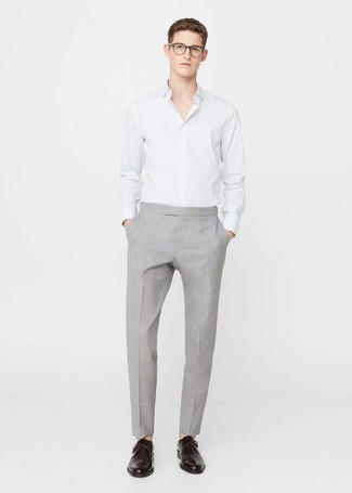 How to wear: white vertical striped dress shirt, grey dress pants, dark brown leather monks