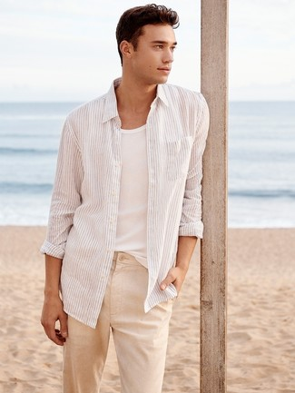 Team a 7 For All Mankind men's Striped Long Sleeve Sport Shirt Whiteblack with beige linen chinos for a trendy and easy going look. As we all know, the trick to getting through the hottest time of year is choosing light and breezy looks like this one.