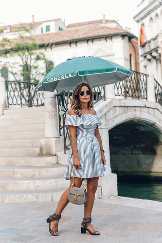 How to wear: white vertical striped off shoulder dress, black studded leather heeled sandals, grey leather satchel bag