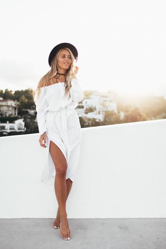 Women's White Vertical Striped Off Shoulder Dress, Black Wool Hat, Black Suede Choker