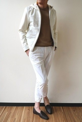 White Windbreaker Outfits For Men: Want to inject your closet with some effortless cool? Try pairing a white windbreaker with white chinos. For something more on the classy side to complete this outfit, complement this look with a pair of dark brown leather loafers.