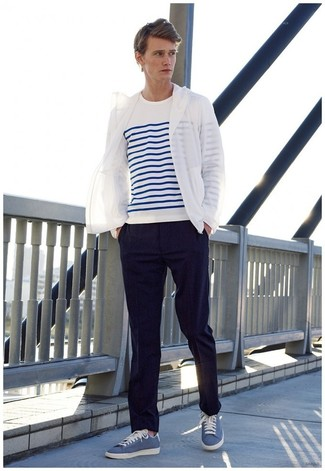 White Windbreaker Outfits For Men: A white windbreaker and navy dress pants are absolute essentials if you're planning a classy closet that matches up to the highest men's style standards. Go ahead and complete your getup with a pair of blue low top sneakers for a fun touch.