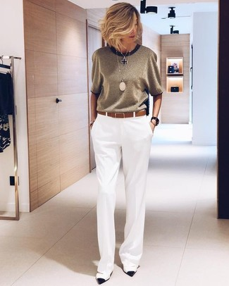 How to Wear a Belt After 50 For Women: Why not try teaming white wide leg pants with a belt? Both of these pieces are super functional and will look stunning when married together. A trendy pair of white and black leather pumps is an easy way to add a sense of refinement to this look.