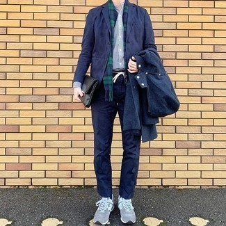 Grey Athletic Shoes Outfits For Men: This combination of a navy windbreaker and navy chinos is incredibly stylish and yet it's casual and ready for anything. Put a fresh spin on an otherwise standard look by finishing off with a pair of grey athletic shoes.