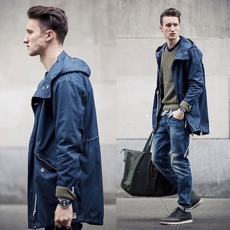 A windbreaker and blue jeans are both versatile essentials that will give your outfits a subtle modification. Add dark grey leather desert boots to your outfit for an instant style upgrade. When it comes to dressing for autumn, nothing beats a killer look that will keep you snug and looking your best.
