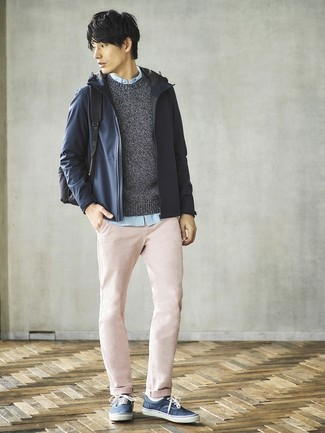 How to wear: navy windbreaker, charcoal crew-neck sweater, light blue long sleeve shirt, pink chinos