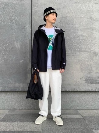 Black Windbreaker Outfits For Men: Go for a straightforward yet casual and cool look teaming a black windbreaker and white chinos. Our favorite of a ton of ways to complete this getup is with beige leather desert boots.