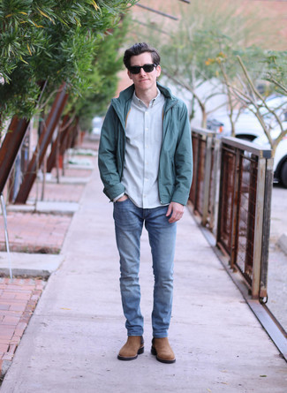Light Blue Long Sleeve Shirt Outfits For Men: Consider wearing a light blue long sleeve shirt and blue jeans to pull together a daily outfit that's full of charm and character. And if you want to immediately rev up this getup with one single item, why not complete this ensemble with a pair of brown suede chelsea boots?