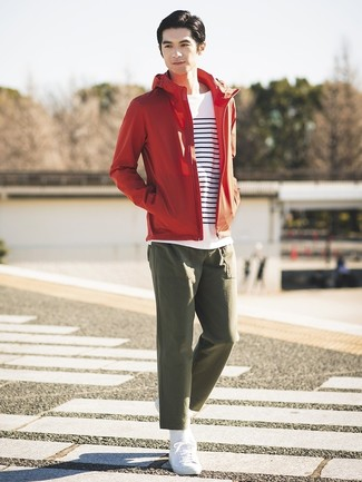 How to wear: red windbreaker, white and navy horizontal striped long sleeve t-shirt, olive chinos, white low top sneakers