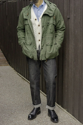 Charcoal Jeans Outfits For Men After 40: When the setting allows off-duty style, you can rely on an olive windbreaker and charcoal jeans. Balance your look with a dressier kind of shoes, like this pair of black leather chelsea boots. This is a practical illustration of how to dress stylishly and look age-appropriate.