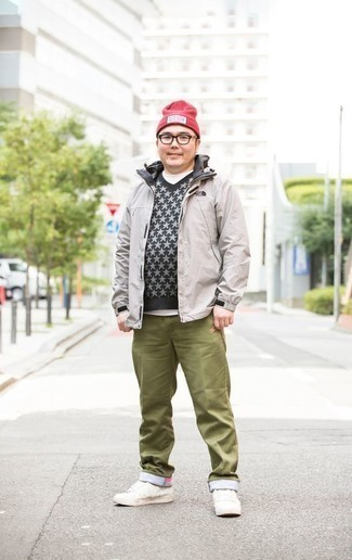 How to Wear a Red Beanie For Men: This urban pairing of a grey windbreaker and a red beanie is very easy to throw together in next to no time, helping you look dapper and ready for anything without spending too much time going through your closet. Feeling adventerous today? Dress up your look by wearing white leather low top sneakers.