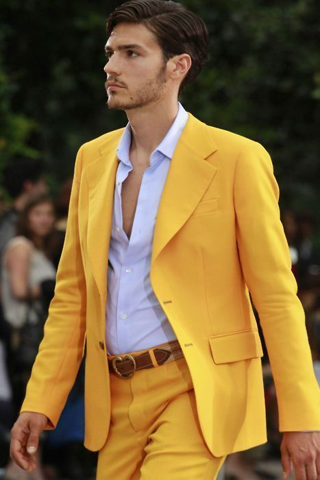 Men's Yellow Blazer, Light Violet Dress Shirt, Yellow Dress Pants ...