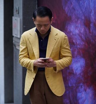 How to wear: yellow blazer, navy polo, brown dress pants