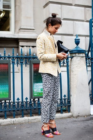 Women's Yellow Leopard Blazer, White and Black Leopard Skinny Pants, Orange Leather Heeled Sandals, Black Leather Clutch