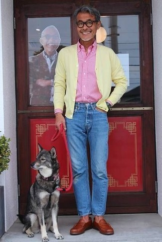 How to wear: yellow cardigan, pink gingham long sleeve shirt, blue jeans, tobacco leather loafers