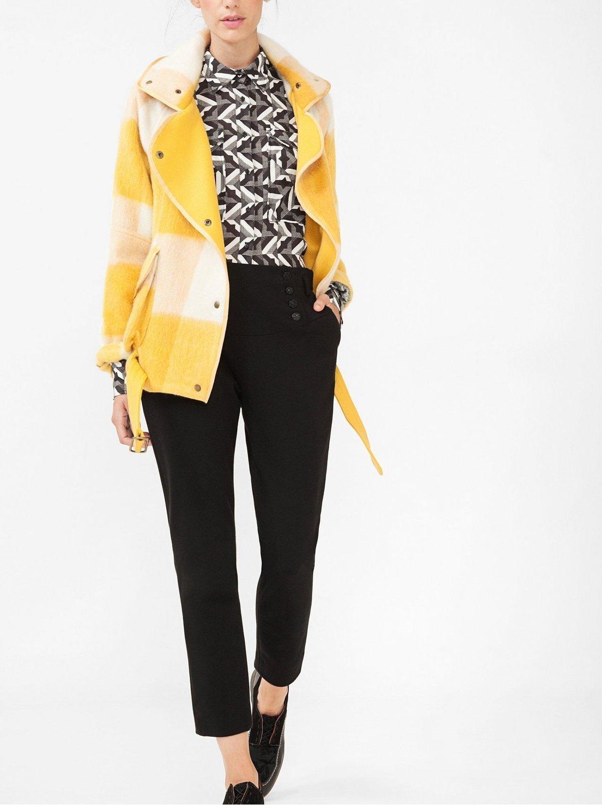 Womens Yellow Plaid Coat Black And White Print Dress Shirt Black