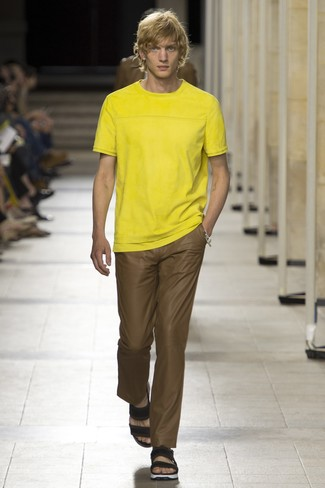 Men's Yellow Crew-neck T-shirt, Brown Chinos, Black Leather Sandals