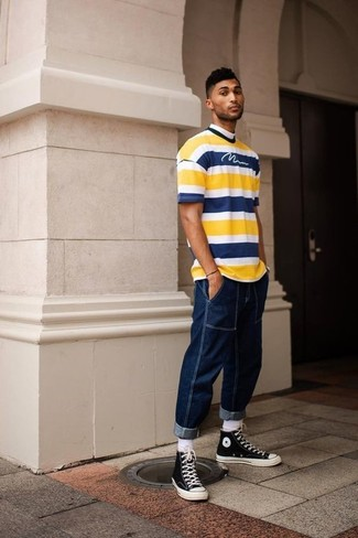 How to wear: yellow horizontal striped crew-neck t-shirt, navy jeans, black and white canvas high top sneakers, white socks