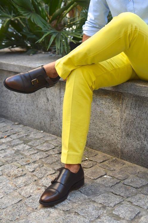 Menu0026#39;s Yellow Dress Pants Light Blue Longsleeve Shirt and Dark Brown Leather Double Monks ...