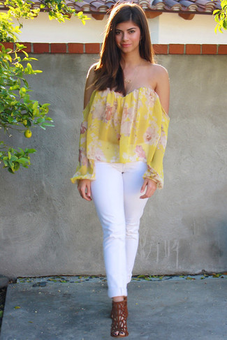 How to wear: yellow floral off shoulder top, white jeans, tobacco suede heeled sandals