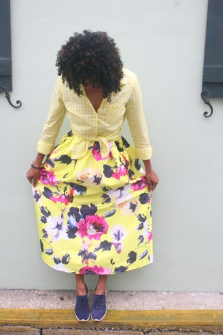 How to wear: yellow gingham dress shirt, yellow floral maxi skirt, navy low top sneakers
