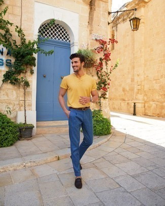 Driving Shoes Outfits For Men: This casual combo of a yellow henley shirt and navy chinos is a real life saver when you need to look sharp but have no extra time. Throw a pair of driving shoes in the mix and ta-da: the look is complete.