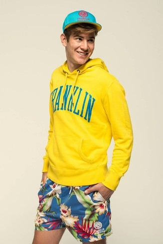 Men's Yellow Hoodie, Blue Floral Shorts, Aquamarine Baseball Cap